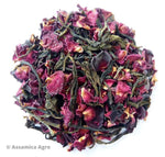 Organic Rose Green Tea: Rose Green Allure - Wet Leaves
