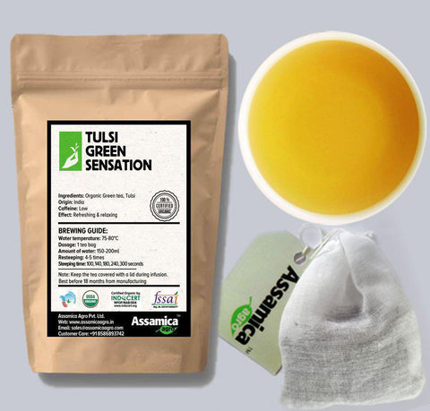 Tulsi Green Sensation: Organic Green Tea with Tulsi : : Tea Bags