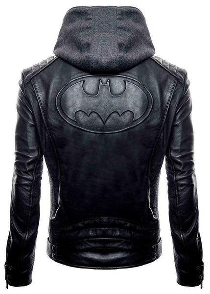 Batman Arkham Logo Motorcycle Super Hero Real Leather Jacket