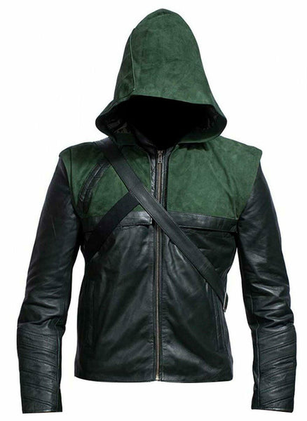 Green Arrow Leather Jacket Mens Superhero Stephen Amell Costume
