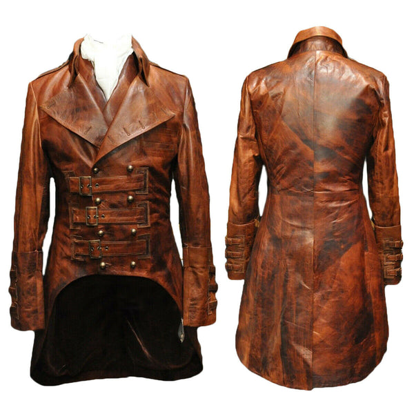 Mens Steampunk Gothic Leather Trench Coat Jacket Goth Punk Victorian Matrix Coat