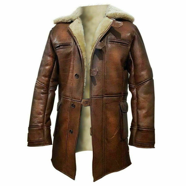 Mens The Dark Knight Rises Bane Coat Tom Hardy Real Leather Shearling Fur Jacket
