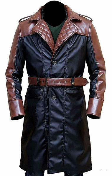 Assassins Creed Syndicate Costume Jacob Frye Cosplay Hoodie Leather Trench Coat
