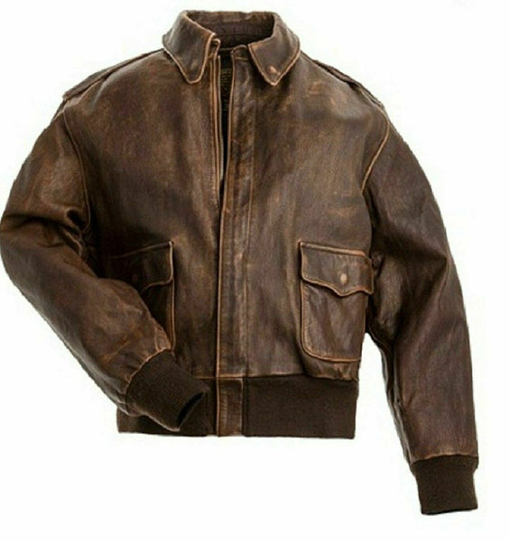 AVIATOR A2 FLIGHT REAL DISTRESSED BROWN A2 BOMBER JACKET FOR MEN
