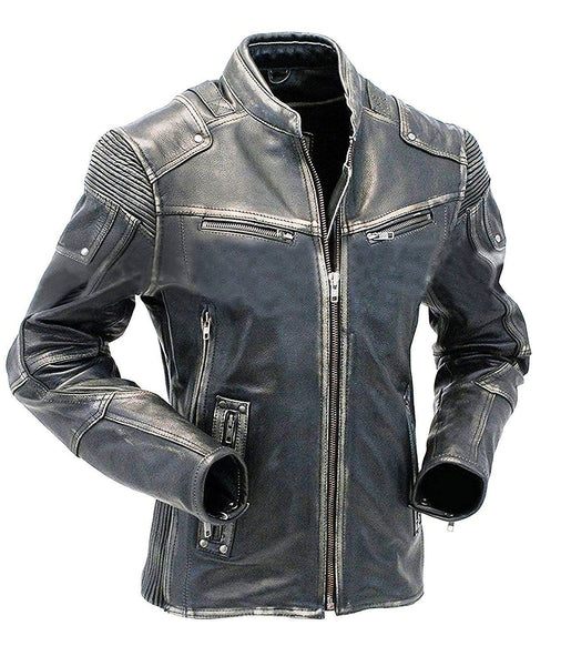 Mens Union Jack Distressed Biker Motorcycle Real Leather Jacket