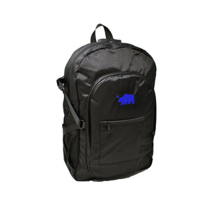 Black backpack blue logo