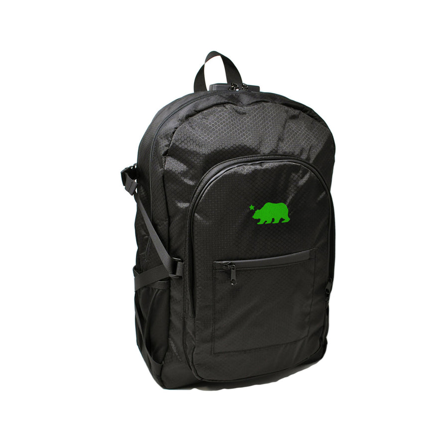 Black backpack green logo
