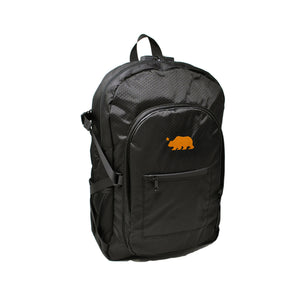Black backpack orange logo