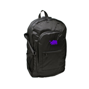 Black backpack purple logo