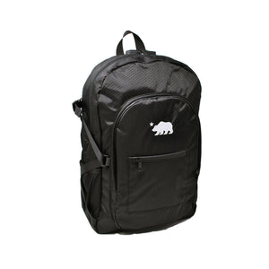 Black backpack white logo