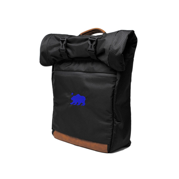 Black roll top blue logo