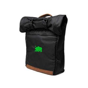 Black roll top green logo