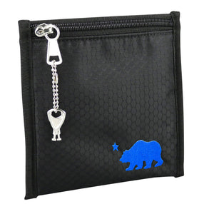 Small black pouch blue logo