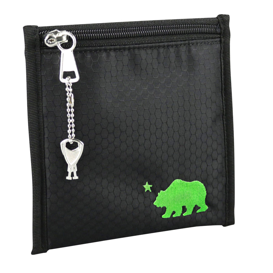 Small black pouch green logo