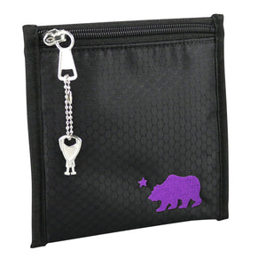 Small black pouch purple logo