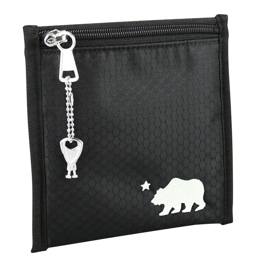 Small black pouch white logo