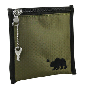 Small olive green pouch black logo