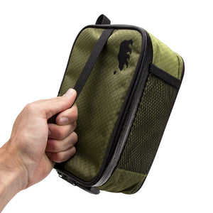 Large olive green soft case top handle