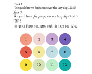 Tessa Galloway colours and fonts