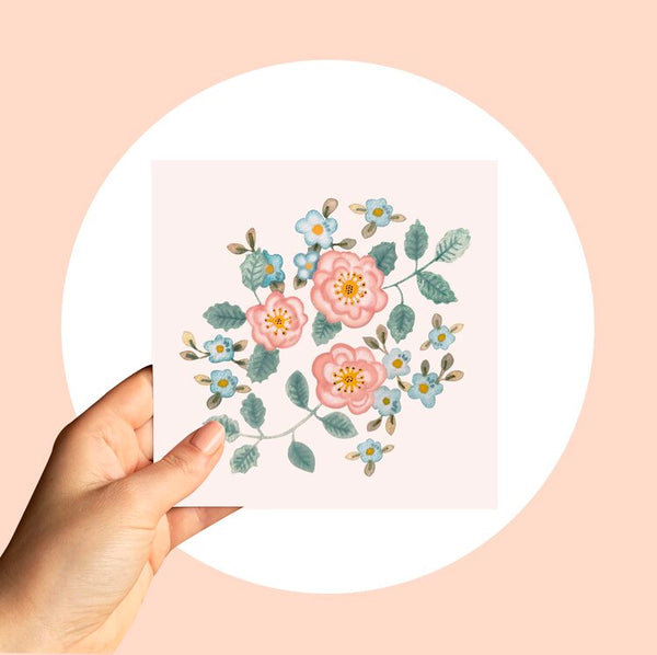 Water color greeting card delivery melbourne. Flower me softly. ash white greeting cards.