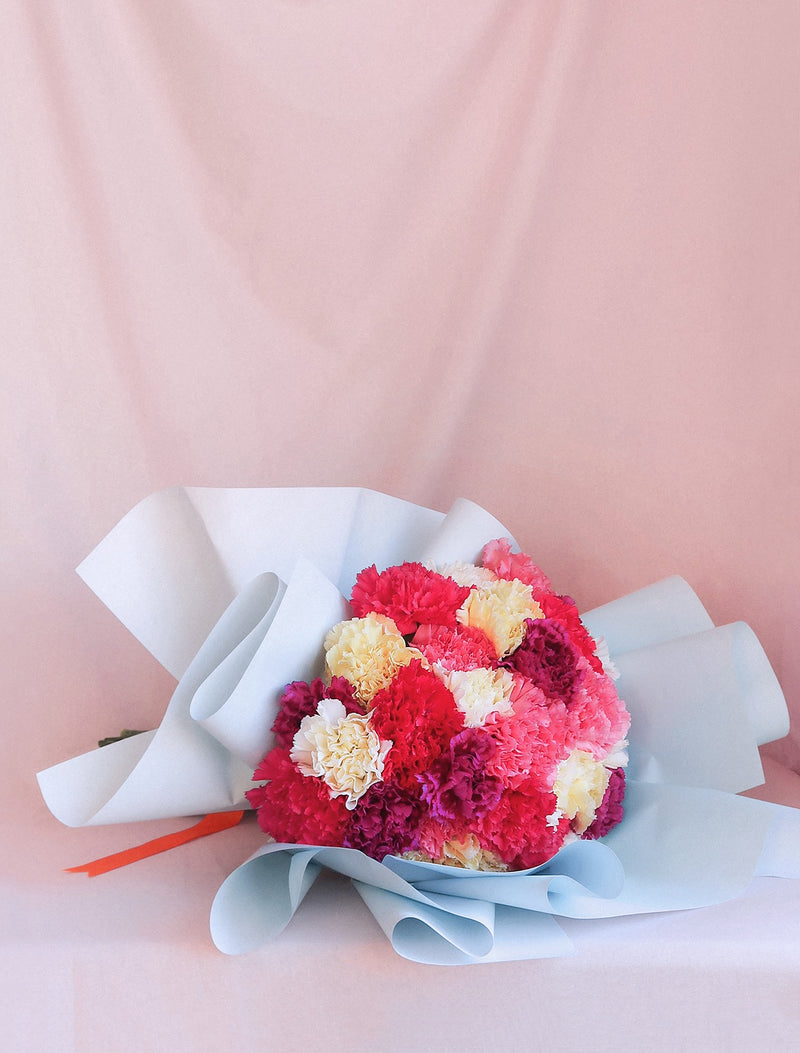 Carnation Mixed Colours Blue Wrapping Orange Ribbon Flower Me Softly Melbourne