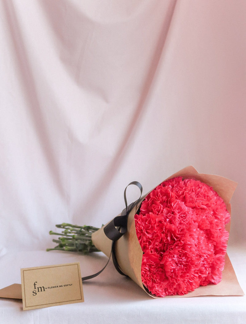 Carnations hot pink bouquet kraft brown wrap- Flower Me Softly Delivery