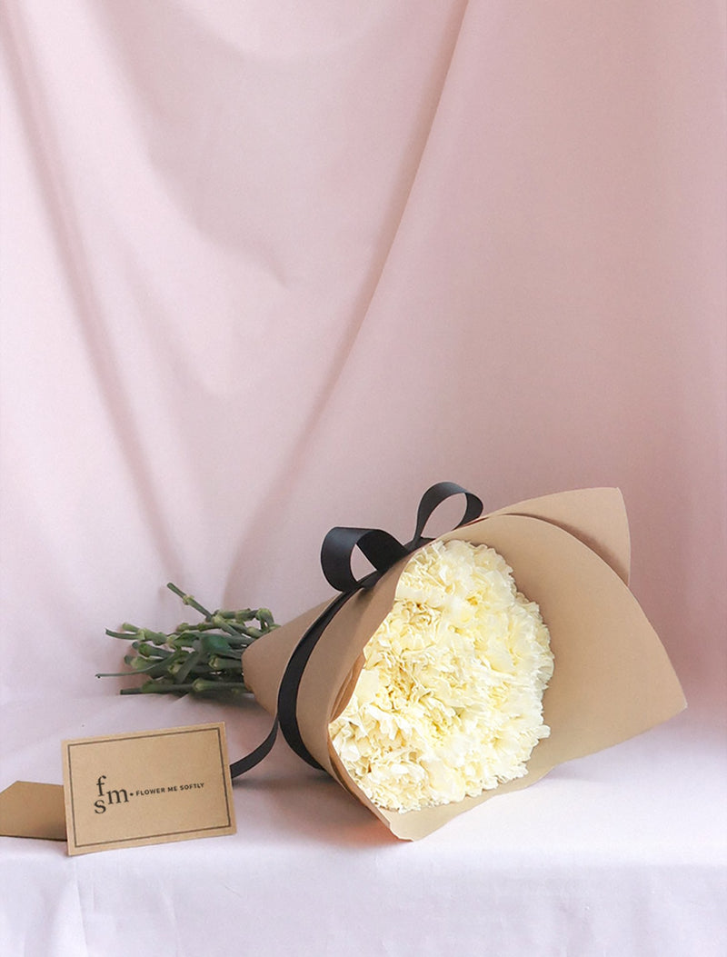 Carnations white bouquet. Flower Me Softly.  Affordable flower delivery melbourne