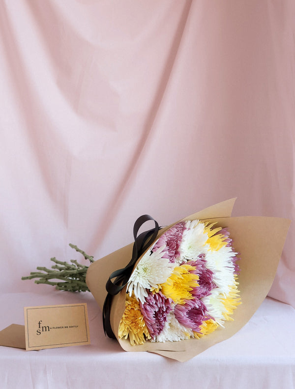 Chrysanthemum Disbud Mum Bouquet. Purple, yellow, white wrapped brown kraft paper.  Flower Me Softly florist card Melbourne delivery