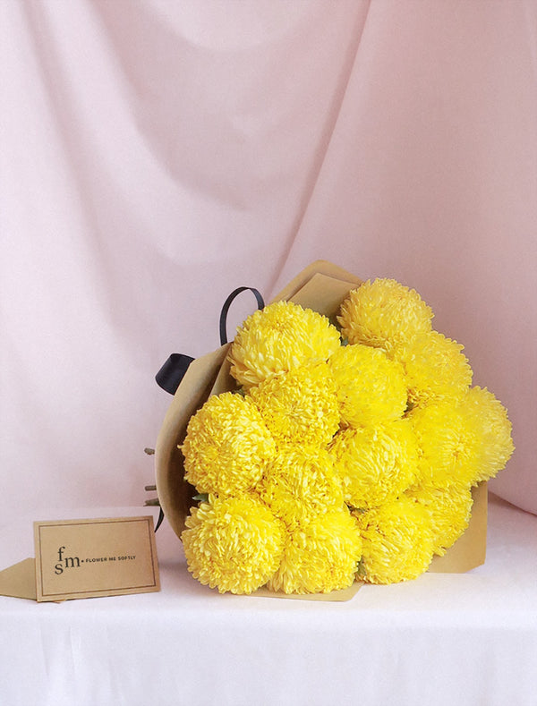 Chrysanthemum MUM Yellow flower bouquet. Wrapped in brown kraft or burlap. Melbourne Flower Delivery.