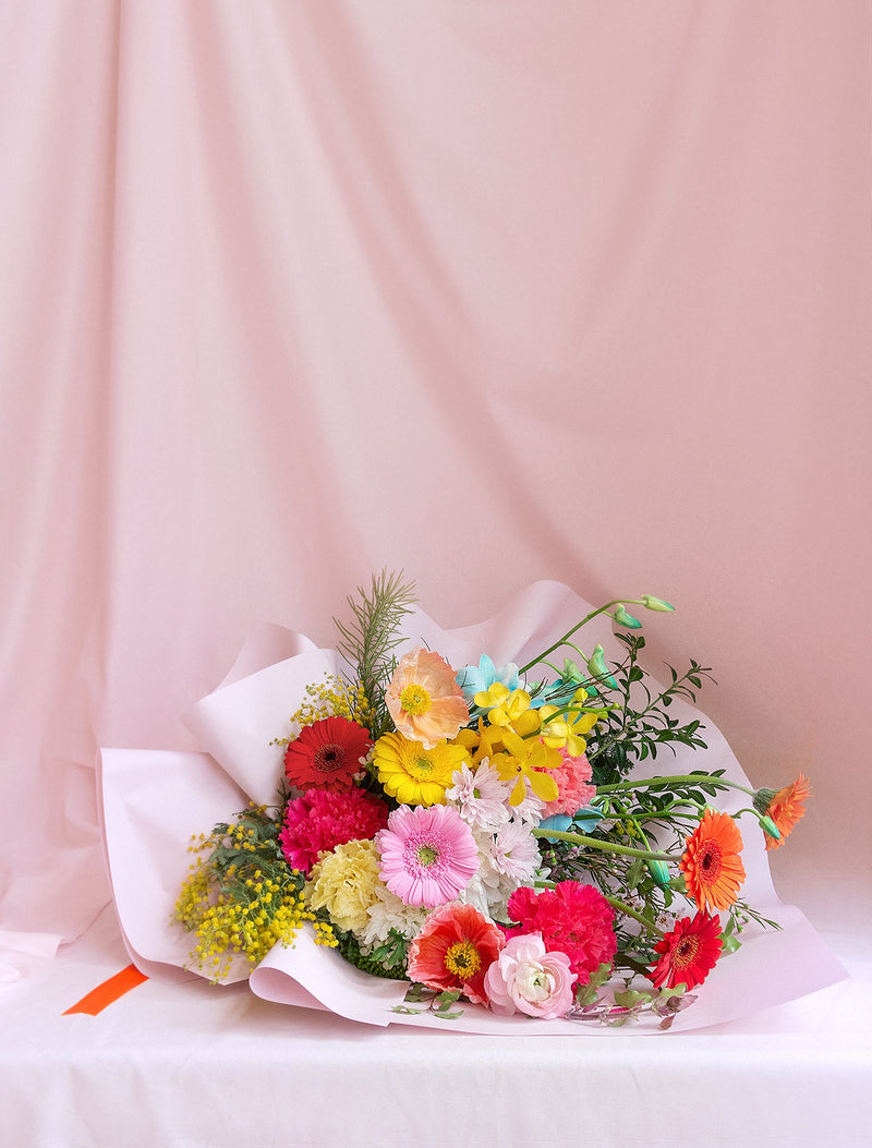 Colourful Bouquet Dreamy Colours, Pink Wrapping, Orange Ribbon. FMS.