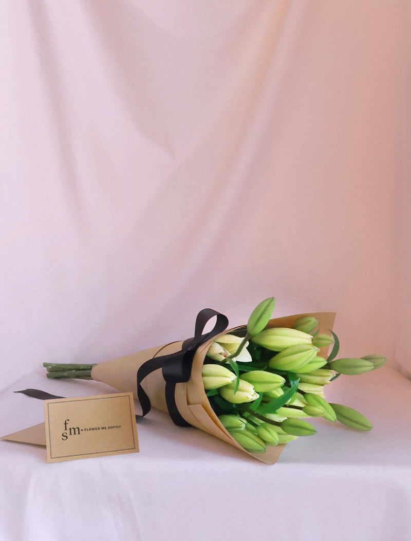 White Lilies Bouquet Brown Kraft Paper Black Ribbon | Flower Me Softly Online Shop Melbourne