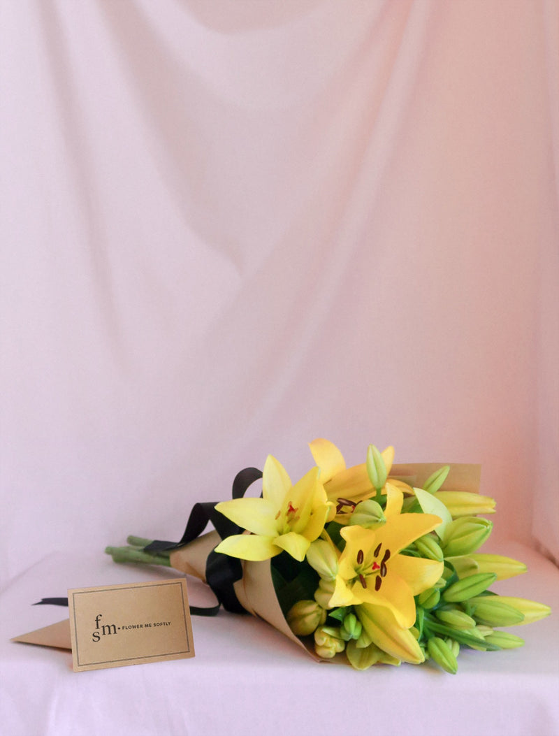 Yellow Lilies | Lily Bouquet Brown Kraft Paper Black Ribbon | Flower Me Softly Florist Melbourne