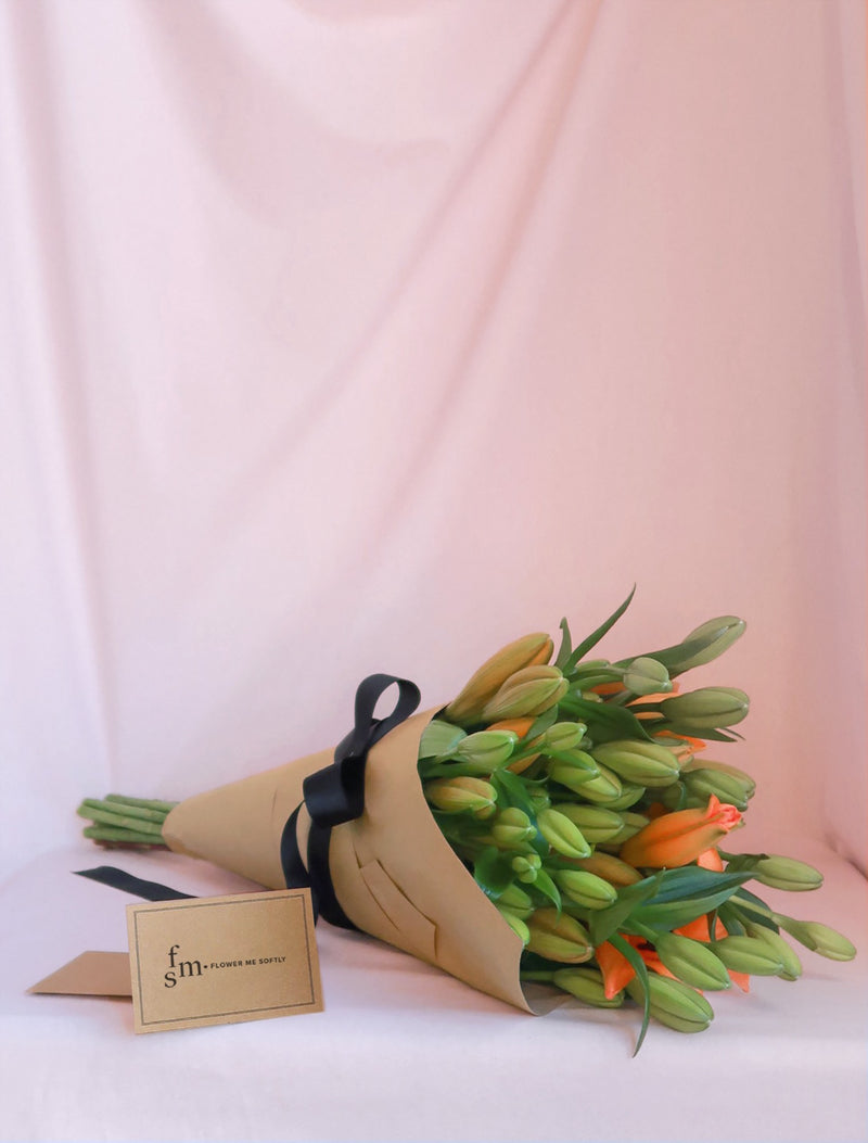 Orange Lilies Bouquet Brown Kraft Paper Black Ribbon | Flower Me Softly Florist Melbourne