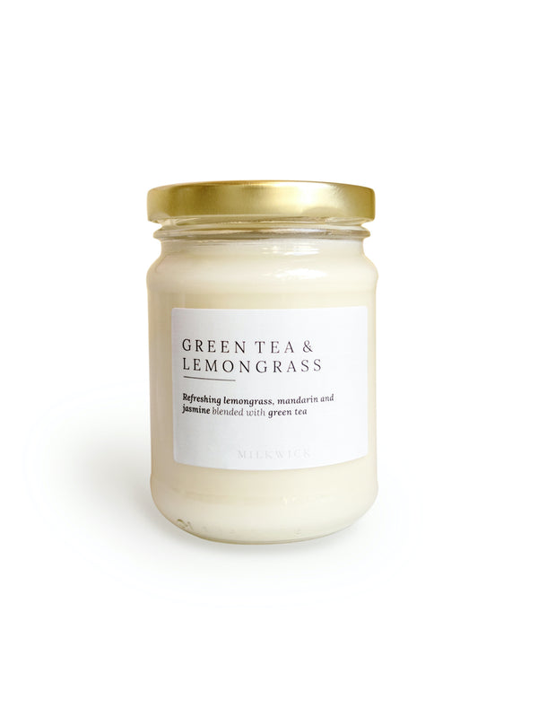 Greentea and refreshing lemongrass scented soy candles delivered in Melbourne with Flowers