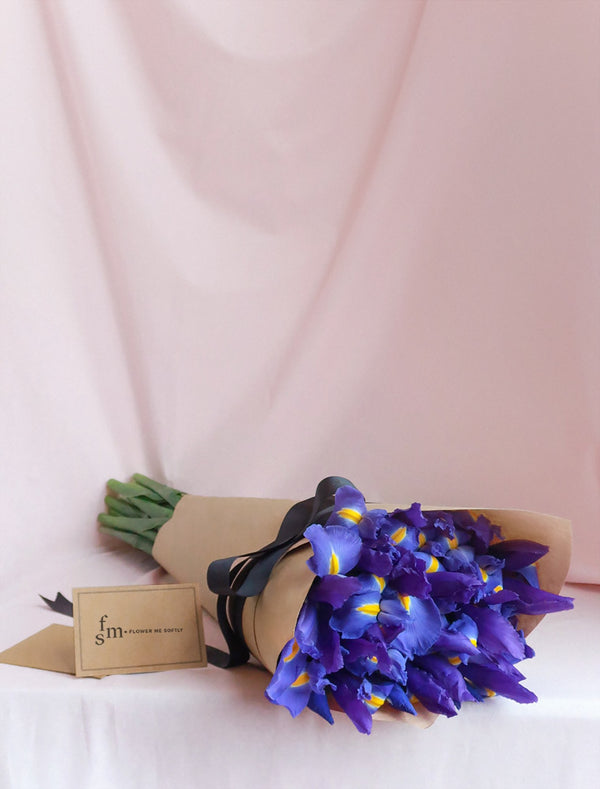 Iris blue bouquet wrapped in kraft for Melbourne delivery