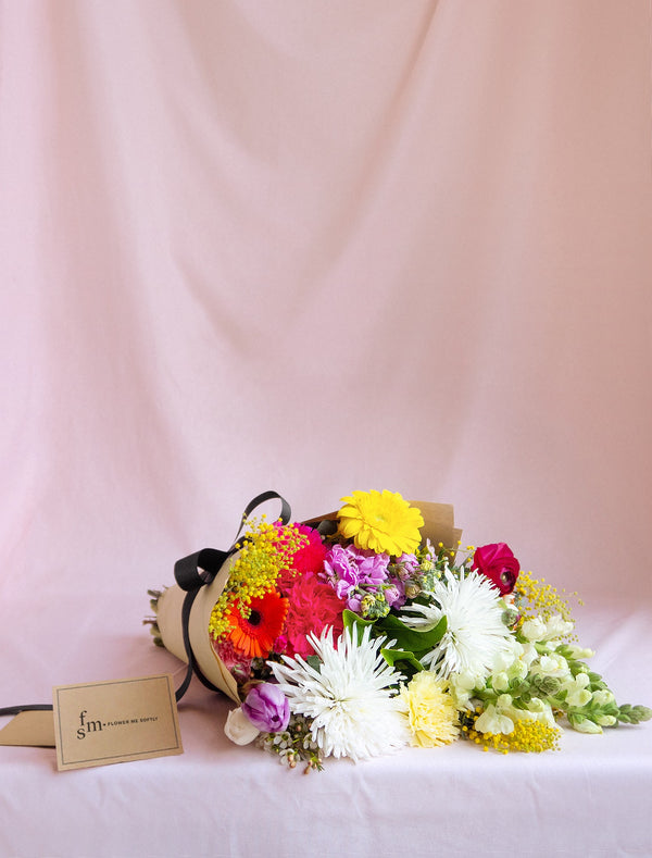 Daily Mixed Market Flowers Bouquet Wrapped in Kraft Paper with black ribbon, Flower Me Softly.