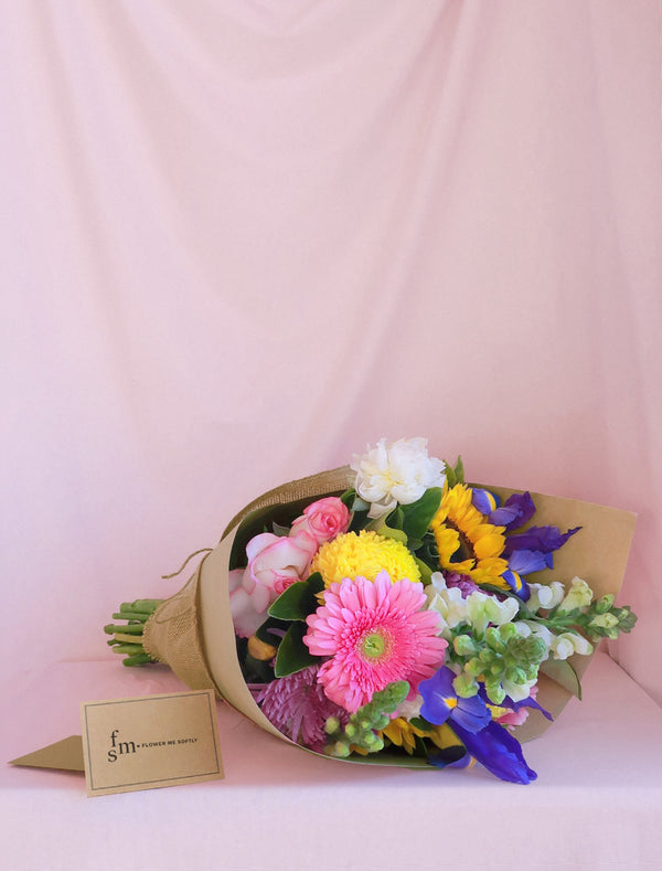 Mixed Daily Market Flower Bouquet Wrapped in Hessian Burlap. Flower Me Softly Melbourne.