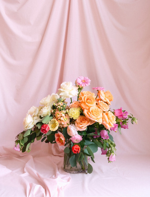 Pastel Colour Bouquet In Vase Melbourne Flower Delivery.