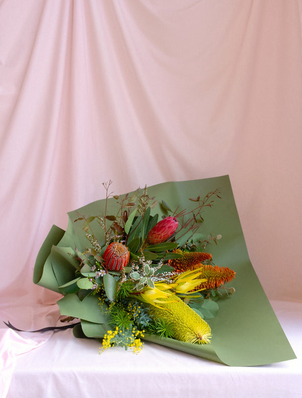 Premium Australian Native Flowers  Wrapped in Green  for Delivery in Melbourne.
