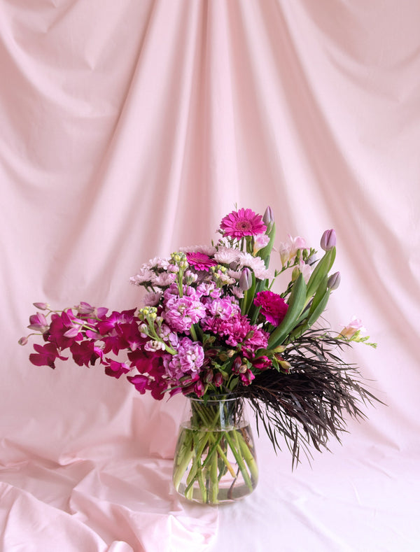 Purple Flower Bouquet in Premium Vase Flower Delivery Melbourne