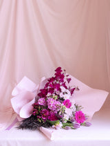 Purple Flower Bouquet in Satin Wrapping Flower Delivery Melbourne