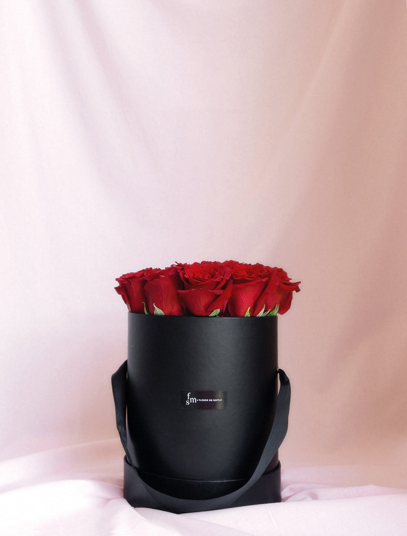 Lady in Red - Red Roses in a Black Hat Box