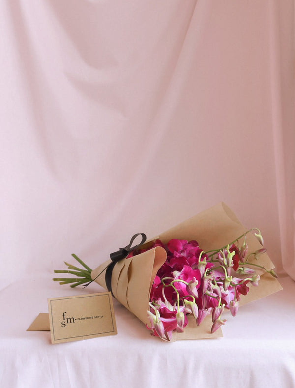 Purple Orchids Bouquet, brown kraft wrapping, black Ribbon, Flower me Softly Message Card,delivery Melbourne