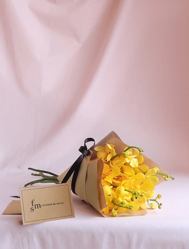 Yellow Orchids Bouquet, brown kraft wrapping, black Ribbon, Flower me Softly Message Card,delivery Melbourne