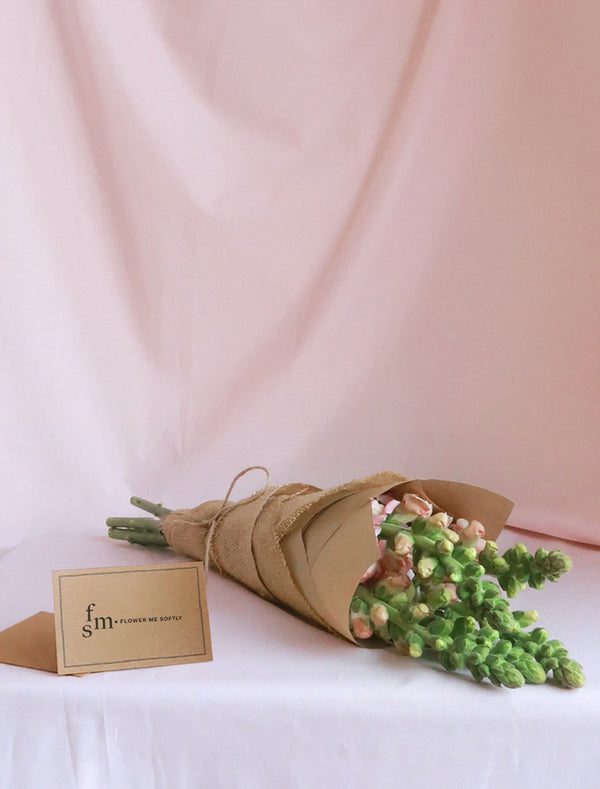 Pink Snapdragons Flower Bouquet | Flower Me Softly Card, Hessian Wrapping