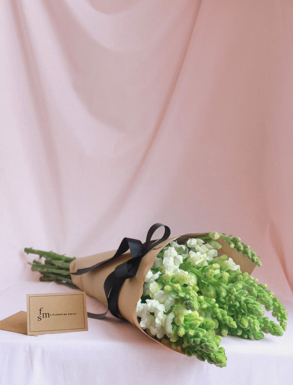 White Snapdragons Flower Bouquet | Flower Me Softly Card, Kraft Wrapping