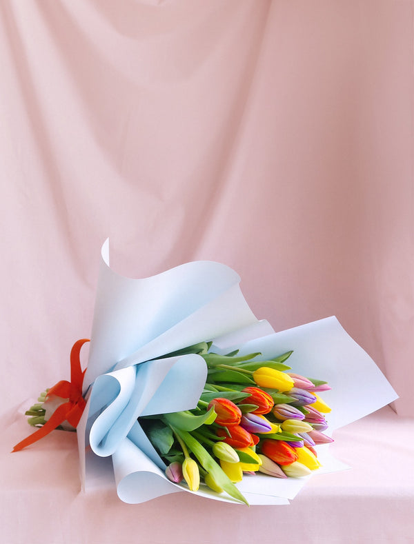 Mixed Colours Tulips Bouquet Blue Wrapping Orange Ribbon Flower Delivery Melbourne