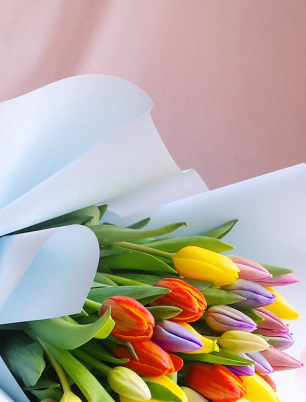 Bright and Pastel Color Tulips Bouquet - Flower Me Softly