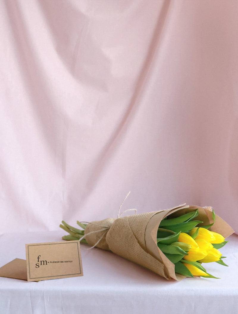 Yellow Tulips flowers small bouquet hessian burlap jute string. Flower Me Softly Melbourne online shop.