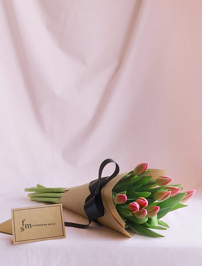 Pink Tulips flowers small bouquet wrapped kraft paper black ribbon. Flower Me Softly Melbourne online shop.